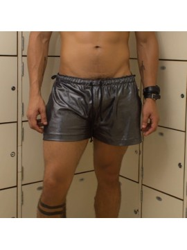 Brief Cut Swimming Trunks Set| Without Bulge + Short Shorts - Metallic Silver